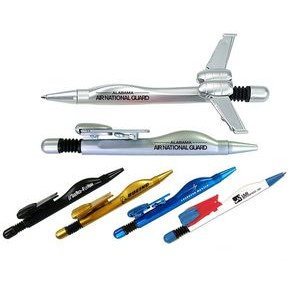 Airplane Ballpoint Pen With Folding Wings - Silver